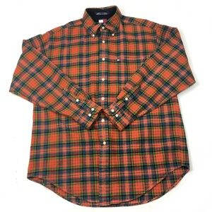 VTG Tommy Hilfiger Orange Red Plaid Flannel Shirt